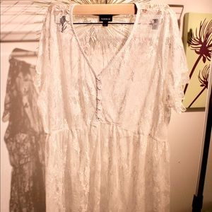 Torrid White Lace Babydoll Top